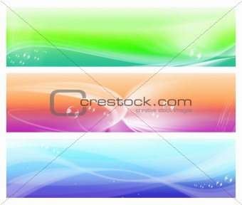 three colorful web abstract banners