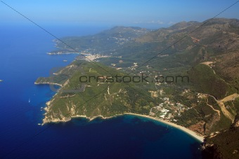 Aerial view on the village of Parga