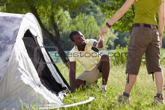 man camping