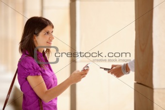 businesswomen using bluetooth connection