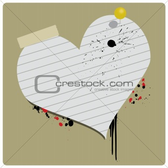 Grungy Valentine Paper Heart Vector Banner