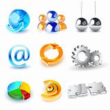 Vector set of shiny 3d icons