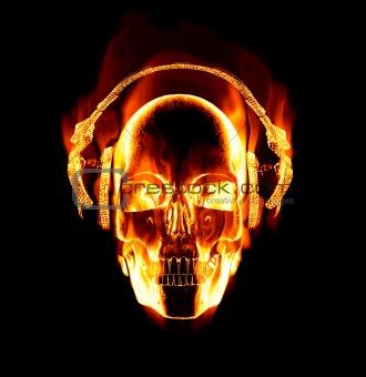 flaming skull wearing headphones