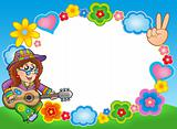 Round hippie frame with guitarist