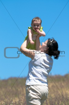baby flying in the skies