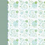 Retro green blue dot and swirl background