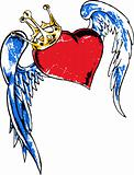 Gothic heart and wing