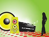 retro party design with girl and speaker vector illustration