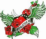 rose, heart and bird emblem