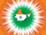 indian flag in map shape isolated on digital background, vector