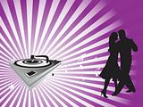 purple wallpaper of dancing couple and turntable