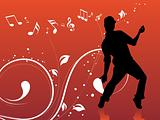 red musical floral background and male dancer, illustration