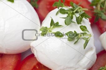 caprese: tomatoe, basil and mozarella cheese