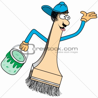 Paint Brush Cartoon Character