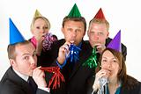 Group Of Business People Wearing Party Favors