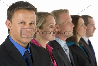 Group Of Business People In A Line Looking