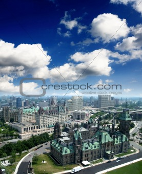 The aerial view of Ottawa City