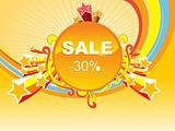 fireworks background of -30% sale, vector