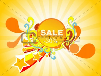 fireworks background of 30% discount, vector