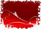 Grunge winter background with fir-tree snowflakes and Santa Clau
