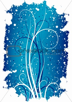 Abstract winter grunge background with flakes and scrolls