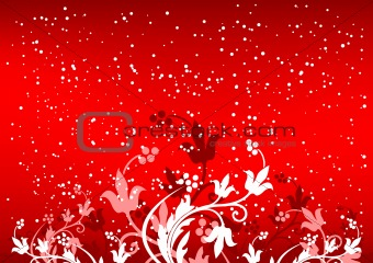 Abstract winterbackground with flakes and flowers in red color