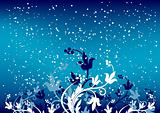 Abstract winterbackground with flakes and flowers in blue color