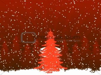 Grunge christmas frame with christmas tree