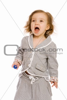 A  toddler shouting