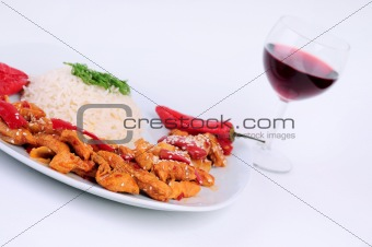A Plate rice and  special chicken