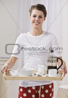 Attractive Brunette Female With Coffee on a Tray