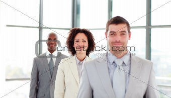 Attractive businesswoman in a line