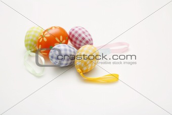 Arrangement of colorful Easter eggs.