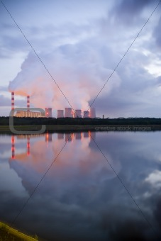 power station on evening