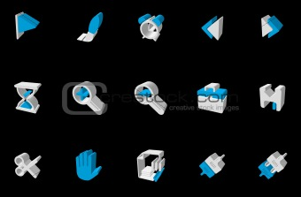 Toolbar and Interface icons blue Three-dimensional