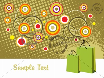 green background with fancy circles for 50% off sale, vector
