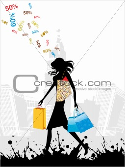 grunge city shopping background, vector
