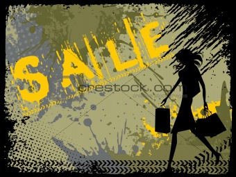 grunge frame with shopping girl, vector