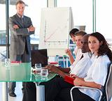 Mature manager in a presentation with folded arms
