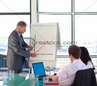 Senior businessman reporting to sales in a presentation