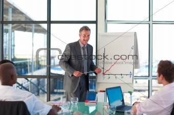 Mature manager speaking in a presentation