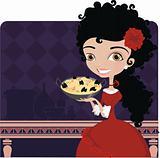 "Spanish Women cooks a ""paella"""