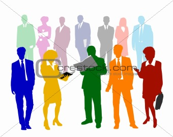 Business People Silhouettes Colors