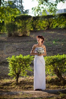 bride in the evening
