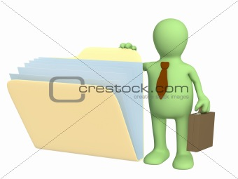 3d puppet, opening  folder with documents