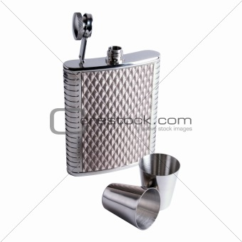Alcohol Grooved Flask and Two Steel Drinks