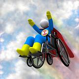 Wheelchair Superhero in Flight
