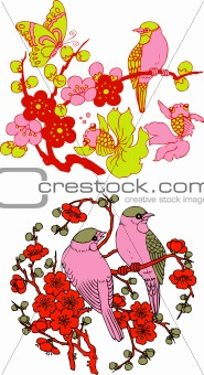 classic Chinese tree bird emblem