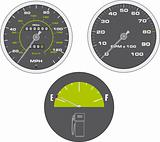 Illustration of tachometer and speedometer