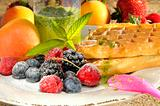 Waffles with peppermint and fruits